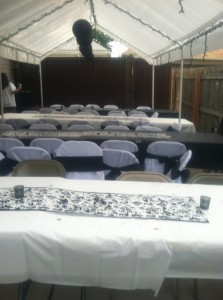 Folding chair covers with black sashes