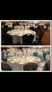 Banquet chair covers with turquoise sashes