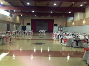 Folding Chair Covers with Black and Orange Sashes