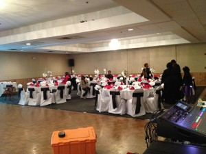 Banquet Chair Covers with Black Sashes